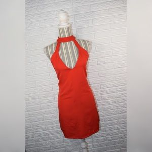 Tobi | Red Low Cut Halter Dress